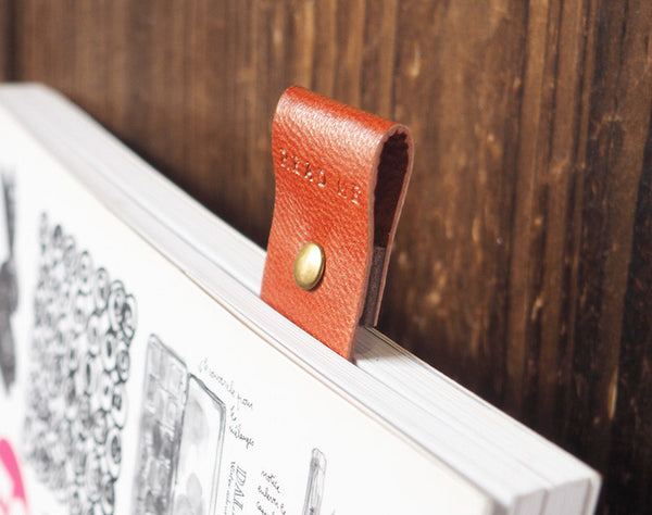 ES Corner Handmade Bookmarks Goat Skin Leather from Japan Burnt Sienna Metal Stud