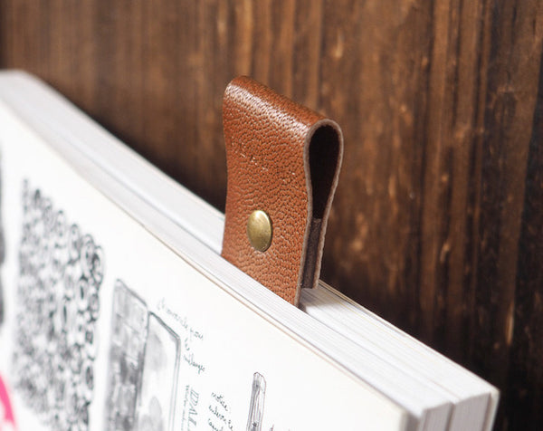 ES Corner Handmade Goat skin Leather Bookmarks with READ ME Dark Brown