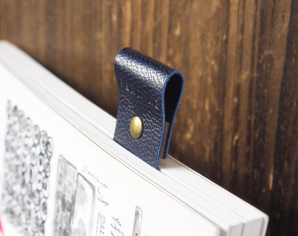 ES Corner Handmade Leather Bookmarks with Japan Goat Skin Leather Navy Blue
