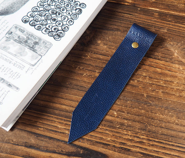 ES Corner Handmade Leather Bookmarks with Read Me Bookmark Navy Blue