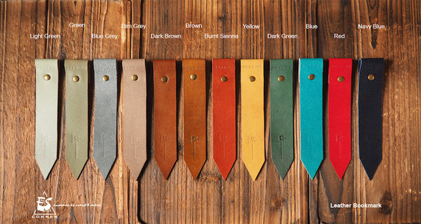 ES Corner Leather Bookmarks 12 Multi Color Green Burnt sienna Navy Blue Dim Grey