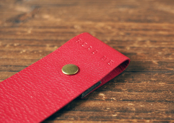 ES Corner Handmade Goat Skin Leather Red Bookmarks with metal stud