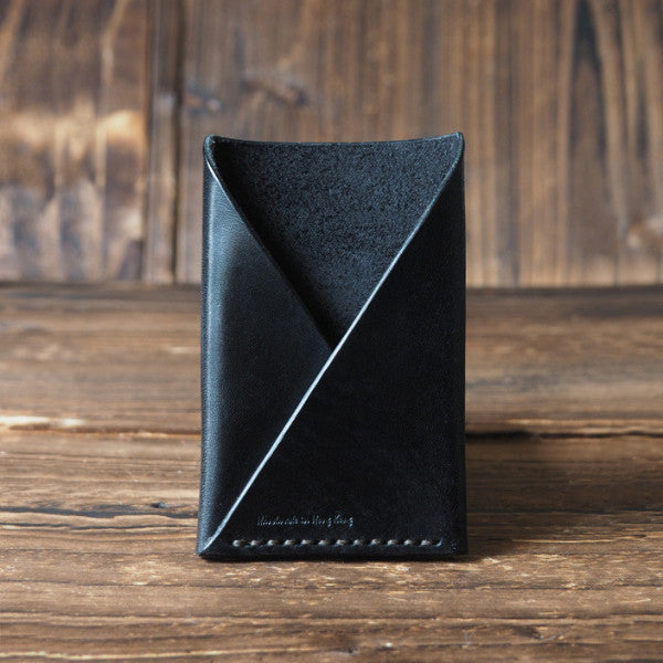 ES Corner Leather Minimalist Card Holder Credit card Business card holder Black Front