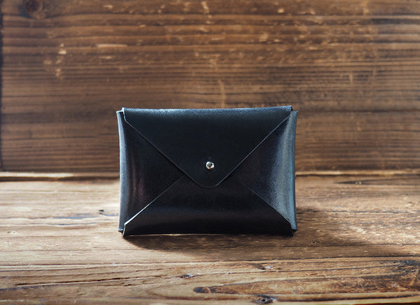 ES Corner Handmade Leather Minimal Business Card Holder Credit Card Holder Slim Wallet Black Front
