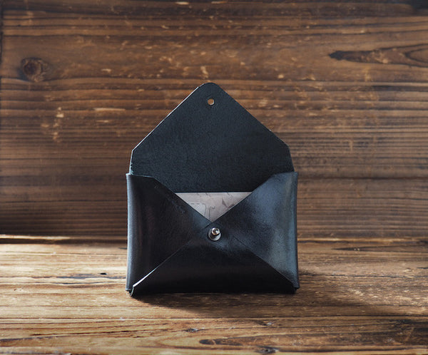 ES Corner Handmade Leather Minimal Business Card Holder Credit Card Holder Black open leather accessories