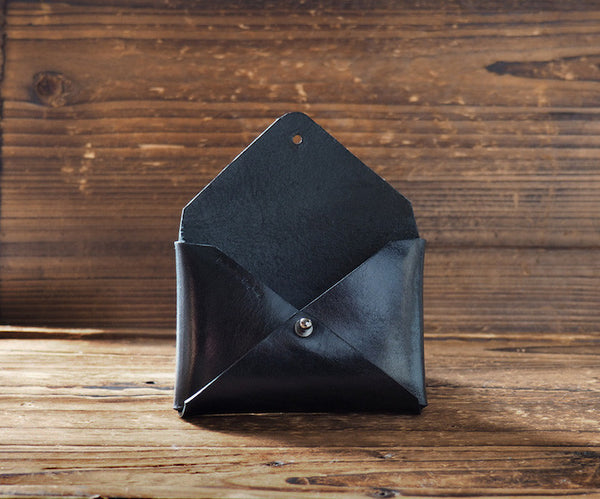 ES Corner Handmade Leather Minimal Business Card Holder Slim Wallet Black business gifts