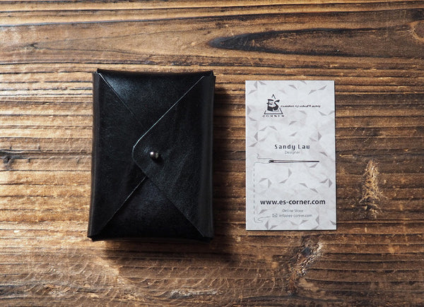 ES Corner Handmade Leather Minimal Business Card Holder Credit Card Holder Slim Wallet Black Simplicity design