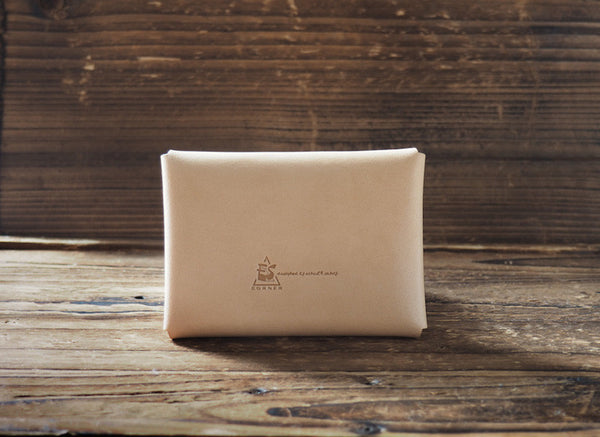 ES Corner Leather Minimal Business Card Holder Slim Wallet natural nude Back