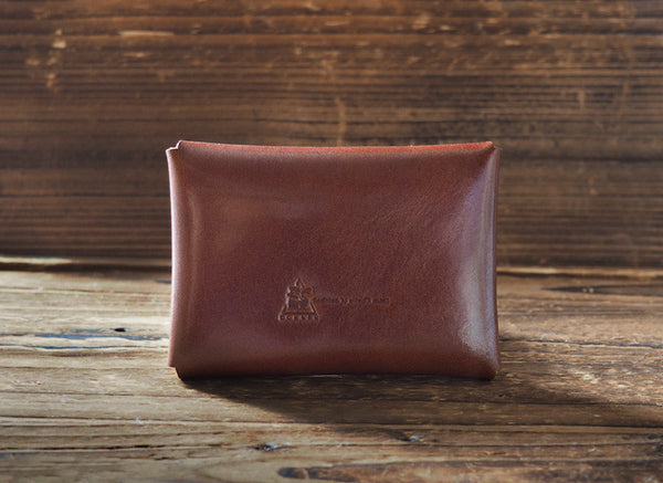 ES Corner Leather Minimal Business Card Holder Credit Card Holder Whiskey Brown Close up Back