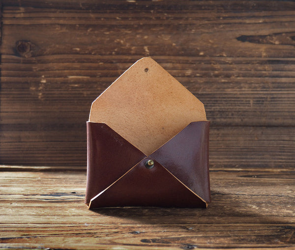 ES Corner Leather Minimal Business Card Holder Credit Card Holder Slim Wallet Whiskey Brown business gifts