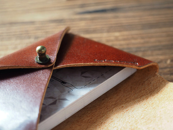 ES Corner Leather Minimal Business Card Holder Credit Card Holder Slim Wallet Whiskey Brown Close up