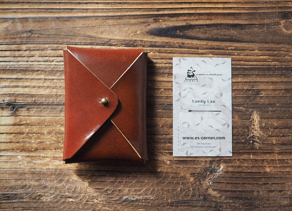 ES Corner Leather Minimal Business Card Holder Credit Card Holder Slim Wallet Whiskey Brown simplicity design