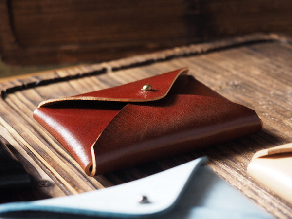ES Corner Leather Minimal Business Card Holder Card Case Credit Card Holder Slim Wallet Whiskey Brown black natural nude blue coated with wax
