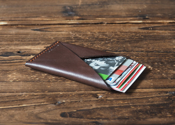 ES Corner Leather Minimalist Credit card Business card holder Dark Brown