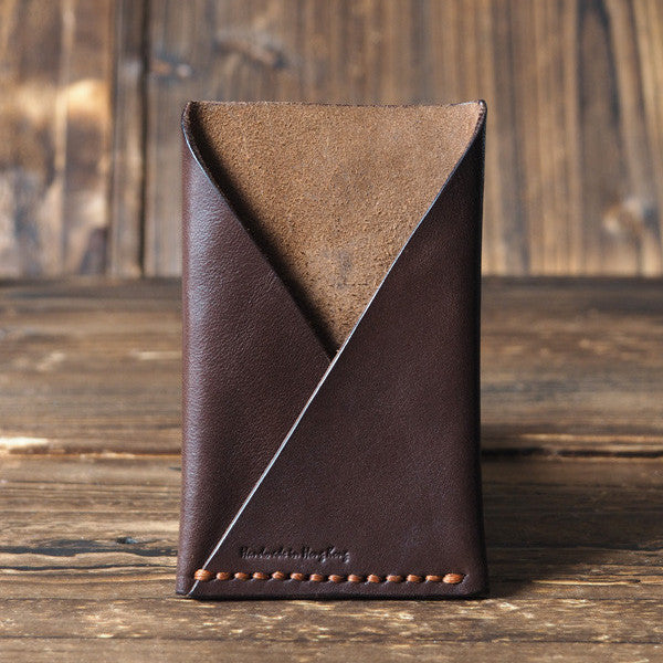 ES Corner Leather Minimalist Card Holder Credit card Business card holder Dark Brown Front