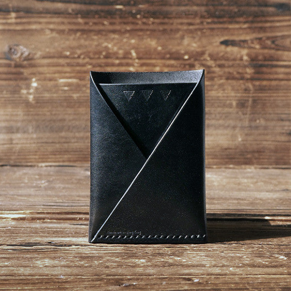 ES Corner Leather Minimal Folded Card Wallet Slim Card Wallet Travel wallet Credit card holder Black