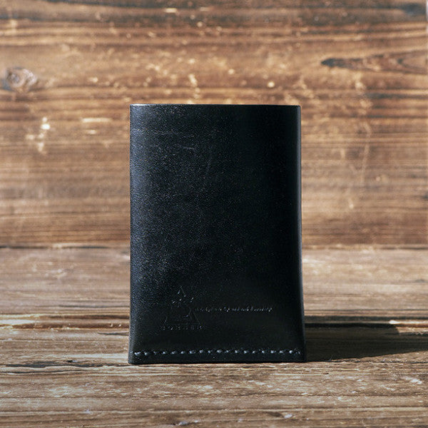 ES Corner Leather Minimal Folded Card Wallet Slim Card Wallet Credit card holder Black Back