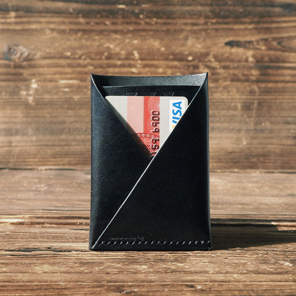 ES Corner Leather Minimal Folded Card Wallet Slim Card Wallet card holder Black with cash and credit card