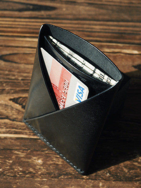 ES Corner Leather Minimalist Folded Card Wallet Slim Card Wallet Black everyday carry