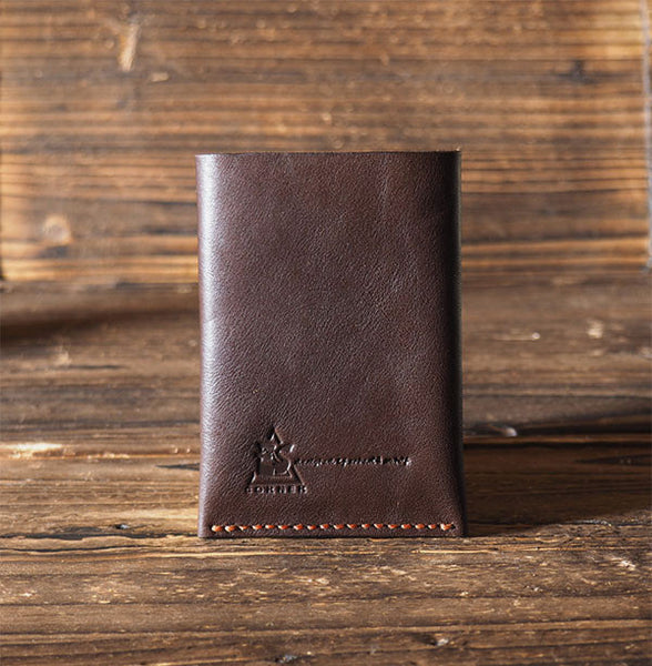 ES Corner Leather Folded Card Wallet Slim Card Wallet Credit card holder Brown Back