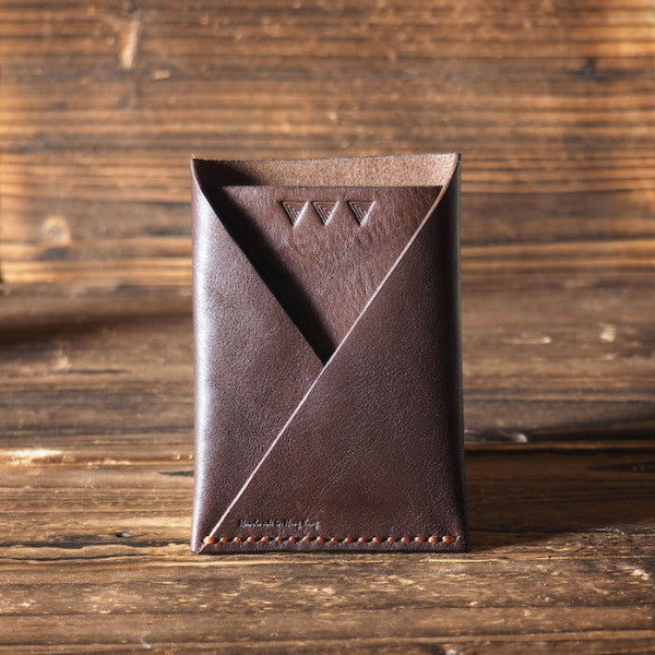 ES Corner Leather Folded Card Wallet Slim Card Wallet Travel wallet Credit card holder Brown