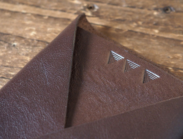 ES Corner Leather Folded Card Wallet Slim Card Wallet Credit card holder Brown Close up