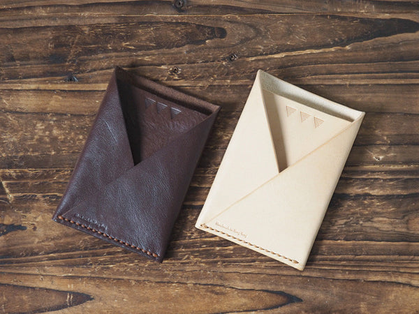 ES Corner Leather Folded Card Wallet Slim Card Wallet Travel wallet Credit card holder Brown natural nude