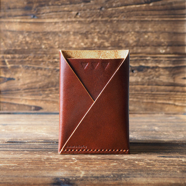 ES Corner Leather Minimal Folded Card Wallet Slim Card Wallet Travel wallet Credit card holder Whiskey Brown
