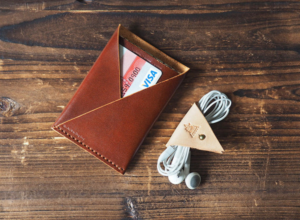 ES Corner Leather Minimal Folded Card Wallet Slim Card Wallet Credit card holder Whiskey Brown nude cord holder everyday carry