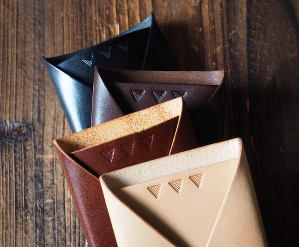 ES Corner Leather Folded Card Wallet Slim Card Wallet Black whiskey brown natural nude 4 color options