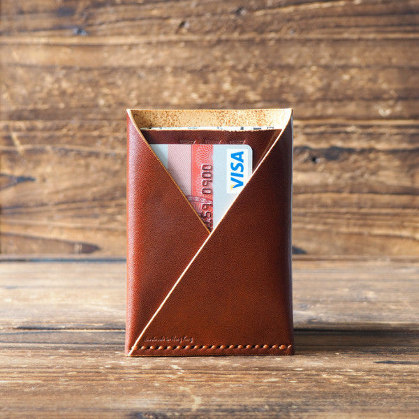 ES Corner Leather Minimal Folded Card Wallet Slim Card Wallet Whiskey Brown notes and credit card