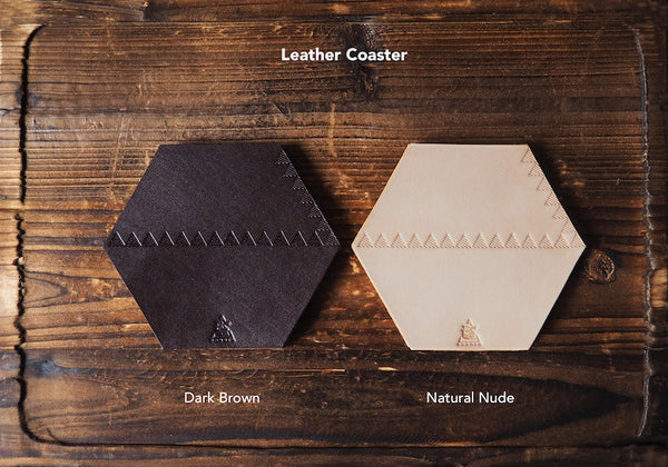 ES Corner Handmade Leather Coasters Dark Brown Natural Nude in Hexagon Shape with Hand tooled Triangle Patterns
