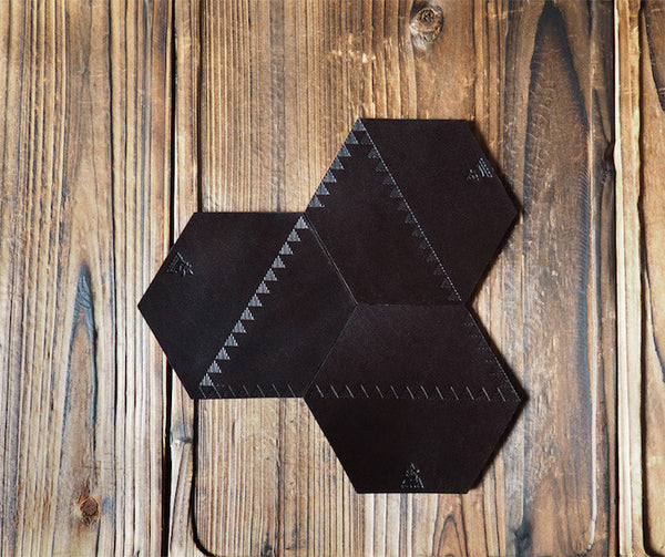ES Corner Handmade Leather Wine Coaster Honeycomb Shape Dark Brown