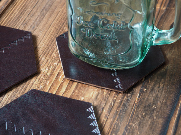 ES Corner Handmade Leather Coffee Coaster Dark Brown Quality Italian Vegetable tanned Leather