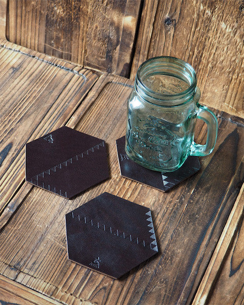 ES Corner Handmade Leather Rustic Coaster Dark Brown Hexagon Shape with Triangle Pattern
