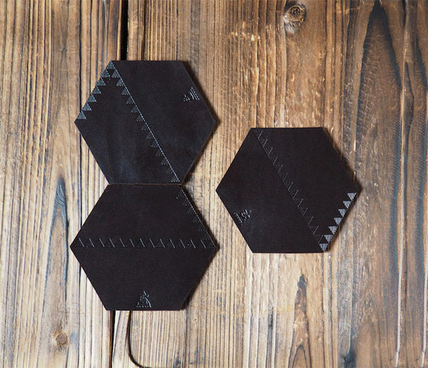 ES Corner Handmade Veg tanned Leather Cup Coaster Combine Small Triangles to Large Triangle