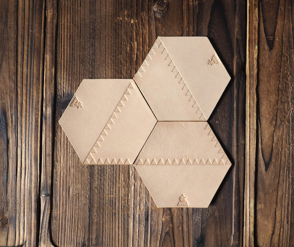 ES Corner Handmade Leather Rustic Coaster Hexagon Honeycomb Shape
