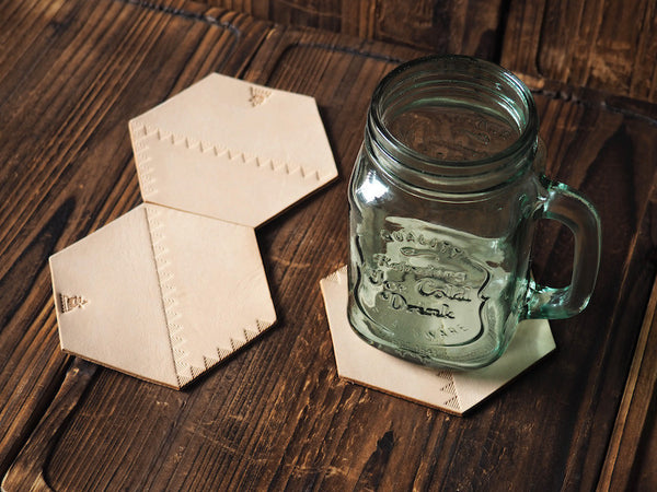 ES Corner Handmade Leather Coffee Coaster Water Resistant for Home Bar Natural Nude