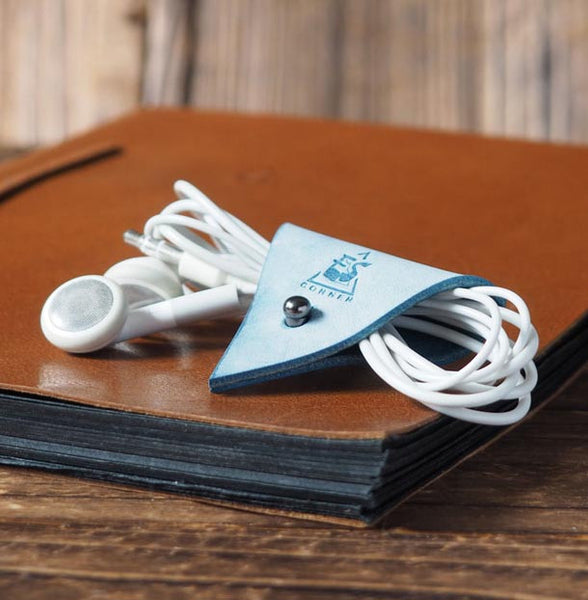 ES Corner Handmade Quality Leather Cord Holder Cable Organizer Coated Wax Blue Triangle Main Shot
