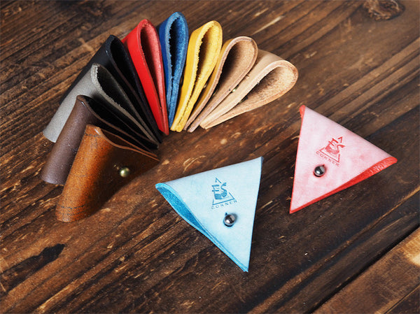 ES Corner Leather Cord Holder Red Blue coated wax 12 colors options
