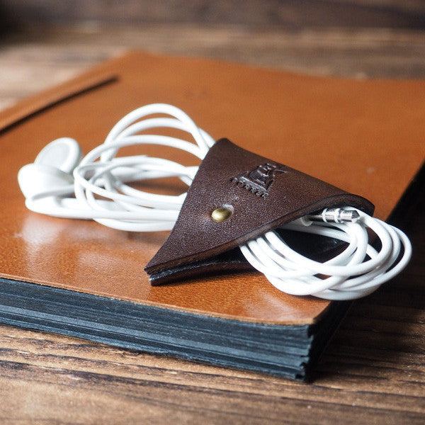 ES Corner Leather Cord Holder Cord Organizer Earphone Headphones Cord keeper Dark Brown Color