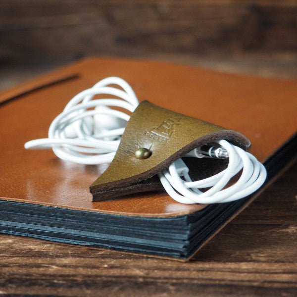 ES Corner Leather Cord Holder Cord Organizer Earphone Headphones Cord keeper Olive green color