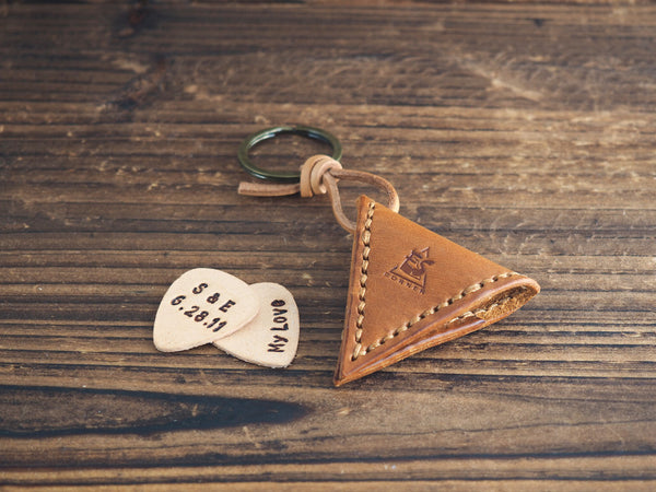 Personalized Leather Guitar Pick Case Keychain #Brown