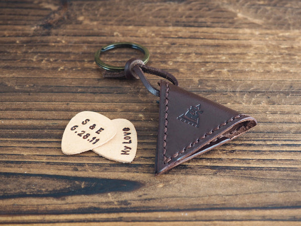 Personalized Leather Guitar Pick Case Keychain #Dark Brown