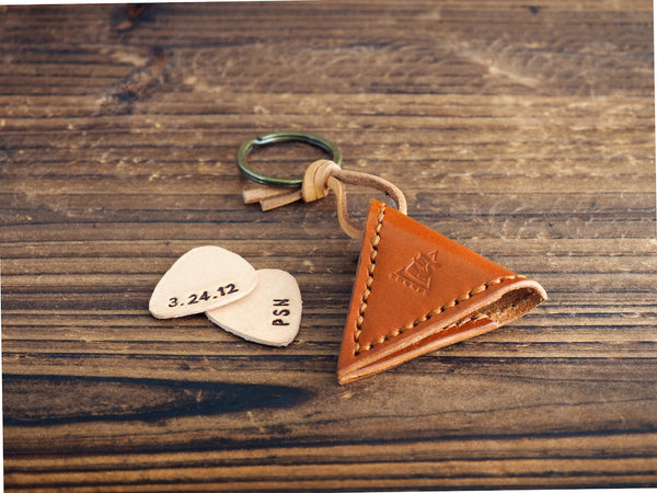 Personalized Leather Guitar Pick Case Keychain #Honey Brown