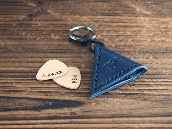 Personalized Leather Guitar Pick Case Keychain #Navy Blue