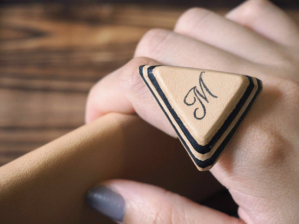ES Corner Handmade Minimal Leather Hand cut Triangle Ring Geometric Gifts