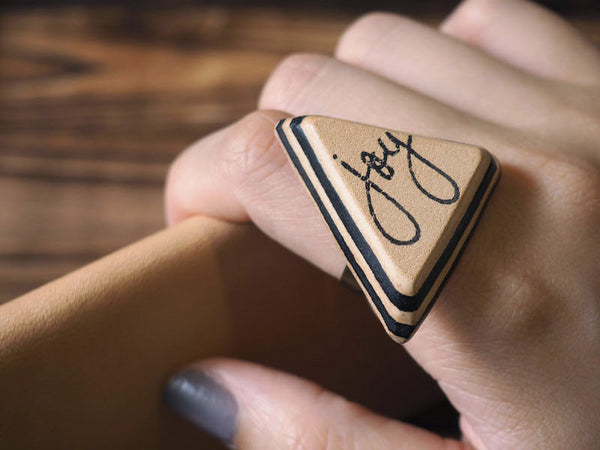 ES Corner Handmade Joy Leather Ring Hand Stamped Layers Minimalist Style Black