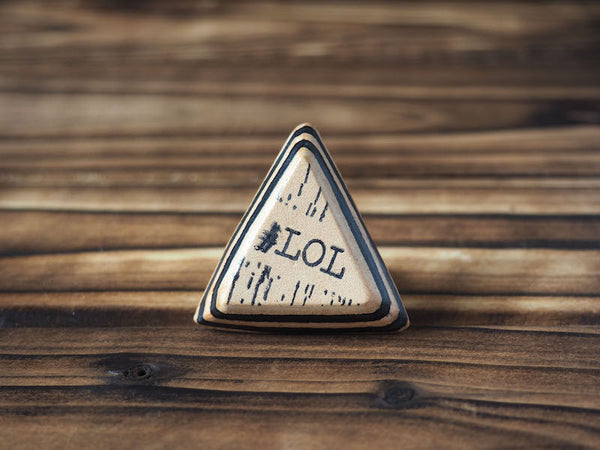 ES Corner Handmade Leather Accessories Triangle Ring Acronym Laugh Out Loud Natural Nude