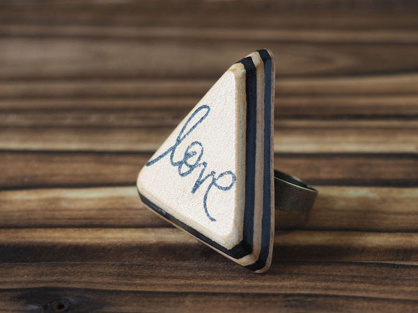 ES Corner Handmade Leather Love Ring Hand Cut and Hand Stamped Gifts idea for Loved one Mother daughter Black Natural Nude